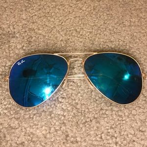 Blue AVIATOR FLASH LENSES RAY BAN sunglasses